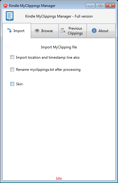 MyClippings Manager Import tab